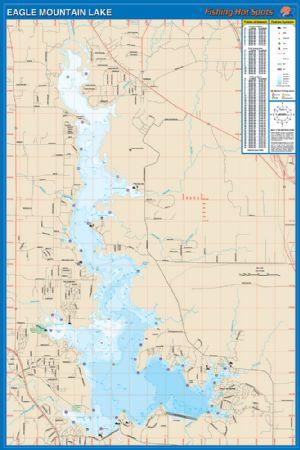 Eagle mountain texas waterproof map fishing hot spots for Eagle lake texas fishing