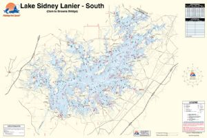 Lake sidney lanier georgia south waterproof map for Lake lanier fishing spots