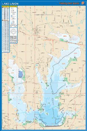 Lavon texas waterproof map fishing hot spots lake maps for Lake lavon fishing