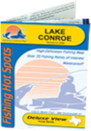 Lake conroe waterproof map fishing hot spots lake maps for Lake conroe fishing map