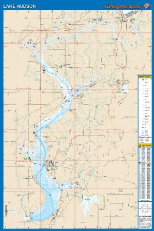 Hudson Oklahoma Waterproof Map Fishing Hot Spots Lake Maps - Oklahoma lake map